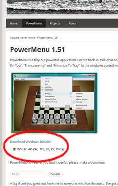 Página de descarga de Power Menu